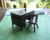 Dollhouse Decor. Desk (RENWAL no 34)  and Chair. Candlestick #341