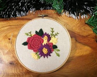 Handmade wool flower embroidery 8 inch hoop