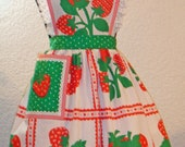 Women's Full Strawberry And Eyelet Apron Made With Vintage Fabric