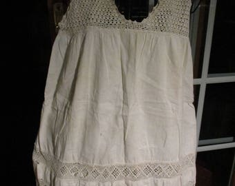 Antique Crocheted Child's White Cotton Slip Top to Bottom Clean
