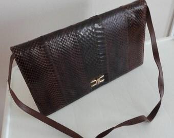 70s Brown Leatherlike Snakeskin Handbag Purse
