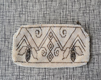 30s art deco clutch, vintage white bead purse, 1930s beaded change purse