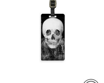 Luggage Tag Vintage Skull Art Circus Couple Dangers of Love and Romance Personalized Luggage Tag Single Tag