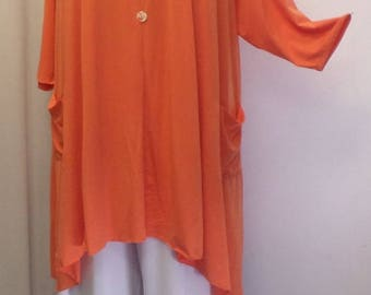 Plus Size Tunic Top, Coco and Juan, Lagenlook, Orange, Traveler Knit Trapeze Tunic, Women's Tunic, Size 2 (fits 3X/4X) 60 inches