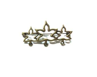 Brass Leaf  Brooch ,  Maple Leaf Brooch ,  Brooch Component ,  2 X 1 Inch Brooch