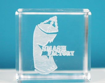 "Personalized 2"" Acrylic Cube Paperweight/Cake Topper/Keepsake - Laser Engraved"
