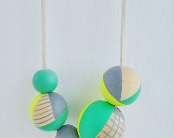 Hand painted Wooden Bead Necklace in Yellow,  Neon Green and Grey