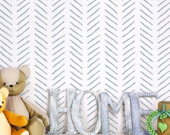 Hand Drawn Chevron Wall Stencil - Better than Wallpaper - Easy to Use!