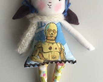 80s Rag Doll Cloth Doll Handmade Doll Vintage Fabric Star Wars c3po