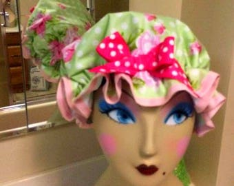 Retro pin up girl water proof shower cap