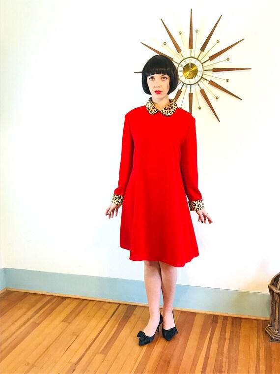 Red tent dress, Leopard trim dress, Red mini dress, A-Line Cut dress, Leopard collar dress, Holiday Party dress, Plus Size Dress, Sz 14 2XL