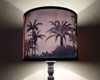 Tropical lamp shade lampshade - unique light, lighting, tiki lampshade, palm trees, palms, parrot, pink lamp shade, gift, exotic, summer