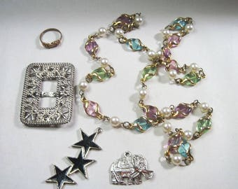 Lot of Vintage Jewelry for Repair or Re-purpose - Some Wearable - Craft Supplies - As Is