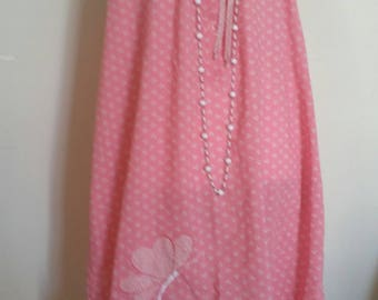 vintage pink nightdress, granny wear, applique butterfly, vintage lingerie, handmade pink nightgown