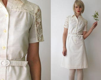 70s Finnish vintage off white dress. belted midi dress. lace trim dress. shirtwaist dress - xs
