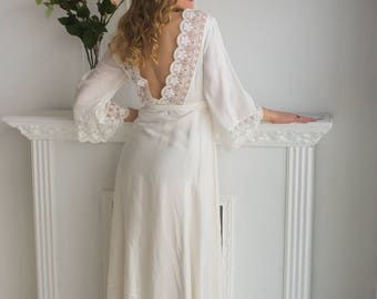 V-Back in White Maternity Robe from my Paris Inspirations Collection - Lace Trimmed - Perfect for maternity shoot