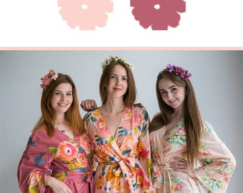 Blush and Rose Gold Wedding Color Bridesmaids Robes - Premium Rayon Fabric - Wider Belt and Lapels - Wider Kimono sleeves
