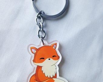 Kawaii sitting fox key chain, cute fox gift, kawaii fox key ring, woodland animal, cute fox, lolita style accessory
