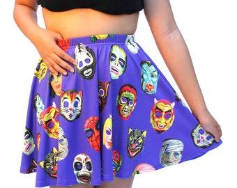Vintage Halloween Masks Skater Skirt - printed mini skirt - photographic vintage masks - 4 background colors - USA XS-3XL