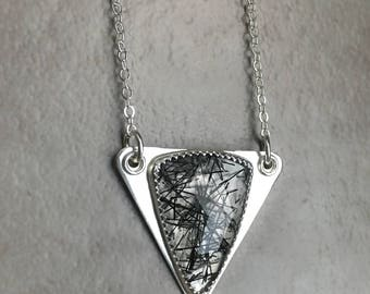 Sterling Silver Triangle Pendant with Faceted Rose Cut Tourmalinated Quartz Triangle Gemstone - Geometric Silver Jewelry - Black and Silver