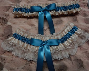 Antique Blue Garter Gray Blue Ribbon Ivory Lace Bridal Wedding Toss Set