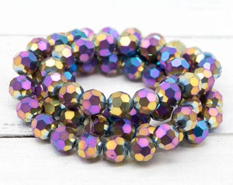 Rainbow Faceted Glass Beads, 9x9mm, 25 Inch Strand, Gold,   Electroplated Beads -B948