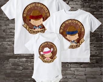 Matching set of Three Cowboy Cowgirl, Biggest Brother, Big Brother Shirt, and Little Sister Onesie Personalized Announcement 01072014e