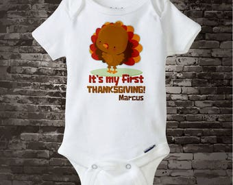 Babys First Thanksgiving Outfit, Personalized outfit, 1st Thanksgiving Onesie or T Shirt design with cute Turkey 11042015a