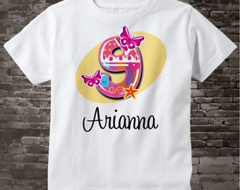 Nine Year Old Shirt with Name, Ninth Birthday Shirt, Fancy Number 9th Birthday, Personalized Girls Birthday Tee 09112013a