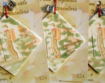 HIKER ORNAMENT handmade ceramic-watercolor ornament includes gift wrapping