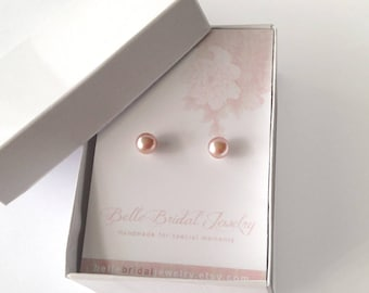 real Pearl Studs, pink pearl Earrings, classic wedding earrings, pearls for the bride, 8mm pearls, pink pearl studs, pearl free shipping