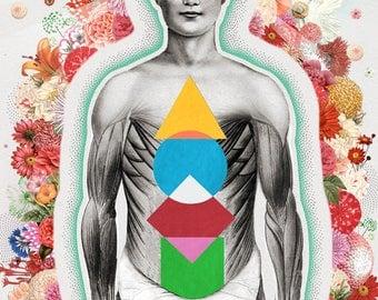 Four Bodies - Print - Anatomic Men Body in Yoga Mindfulness Meditation - Spiritual Mind, Emotional, Physical Chakras and Holistic Zen Mood