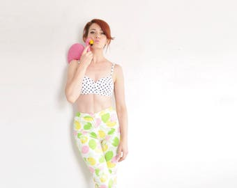 novelty lemon lime pedal pushers . high waist retro fruit print pants .extra small.xs