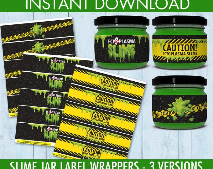 Ghost-busters Slime Jar Label Wrappers includes 3 Versions, Ghost-buster Party, Slime Party   INSTANT Download PDF Printable Set