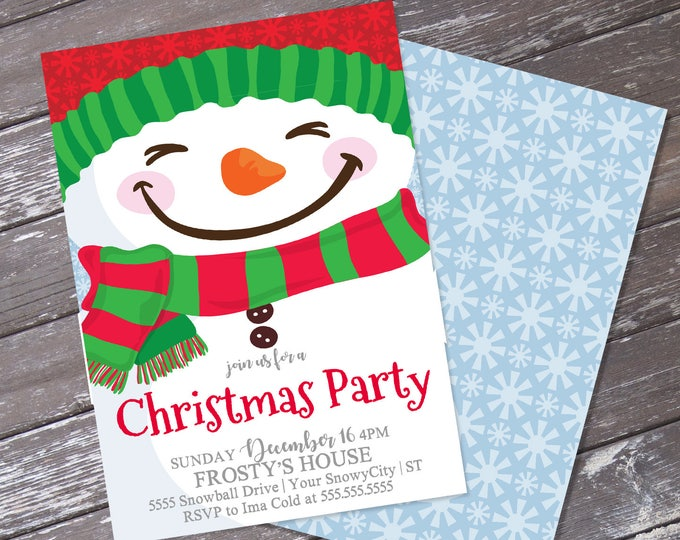 Snowman Invitation, Winter Party Invitation, Christmas Party | Editable Text, Instant Download PDF Printable