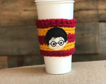 Harry Potter Cozy- Harry Potter Cup Cozy- Gryffindor- Gift for Reader- Harry Potter Fan Gift- Coffee Cup Cozy- Tea Lover Gift- Travel Mug