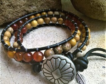 Wrap Bracelet CANYON DUSK 'Tribe' Beaded Feather -Mookaite,Orange Carnelian,Picture Jasper,Leather,925 Sterling Silver,Wrap Bracelet,