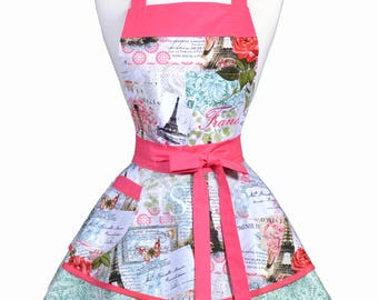 Womens Ruffled Retro Apron - French Eiffel Tower Pink Jade Womans Vintage Style Pinup Kitchen Apron to Personalize or Monogram (DP)