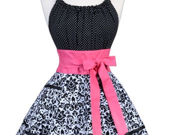 Flirty Chic Retro Apron in Womens Sexy Black Damask with Hot Pink Trims Wedding or Hostess Pinup Apron with Pockets and Embroidery Option