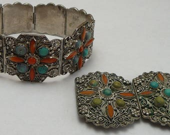 Chinese Export Set Bracelet Belt Buckle Turquoise Coral Antique China