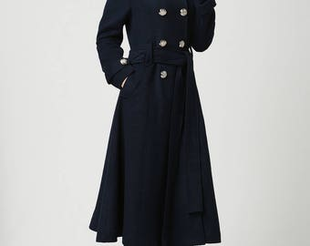 Winter Coat, Overcoat, Blue coat, Wool Coat, Womens coats , Military Coat,Wool Jacket,Long Wool Coat, double breasted coat,trench coat 1114