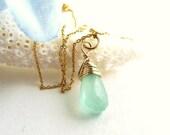 Aqua Chalcedony Charm ~ Green Stone Charm ~ Necklace Charm ~ Add a Charm ~ Add a Dangle  - AdoniaJewelry