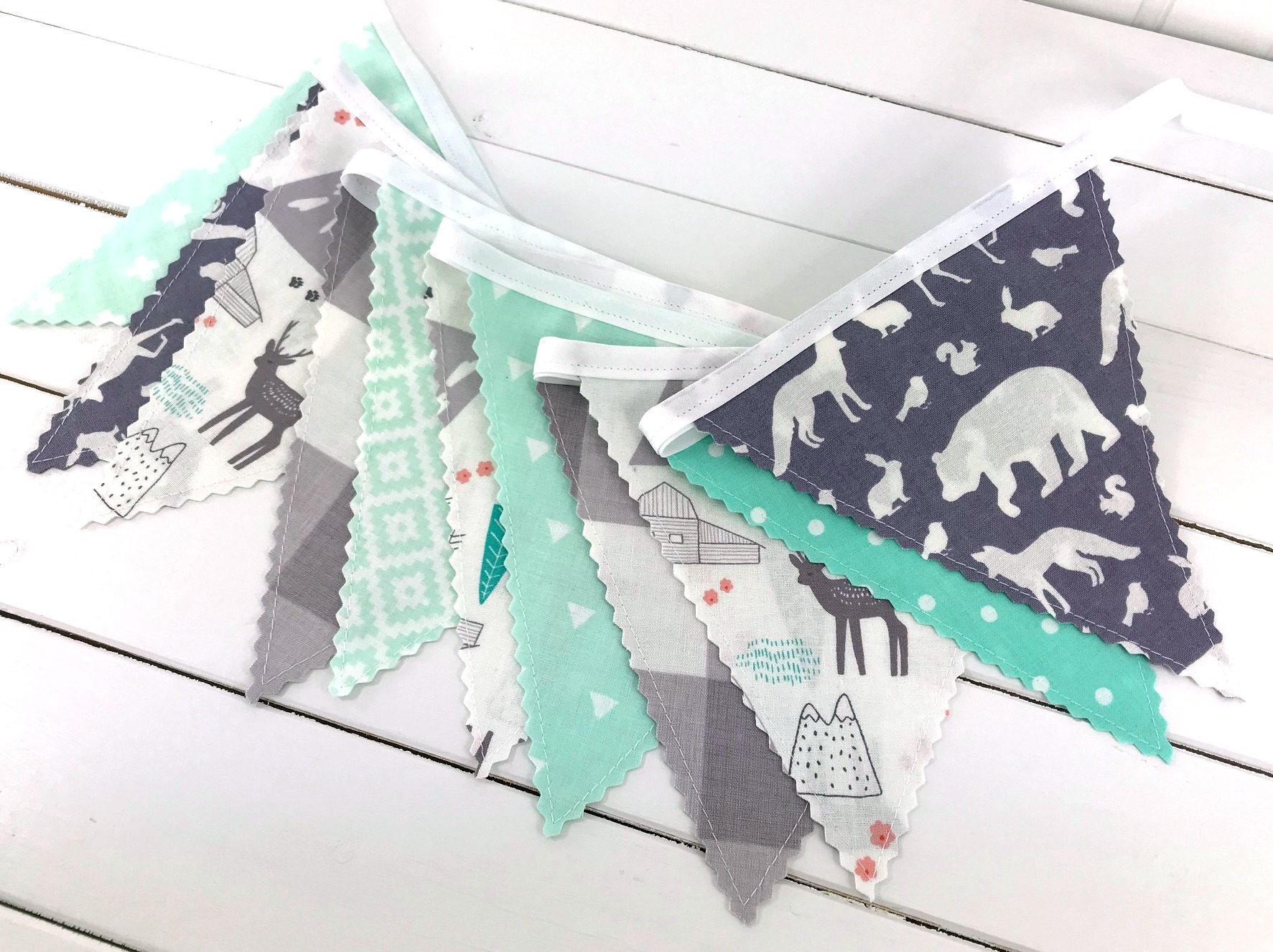 bunting banner flags garland woodland nursery decor mountains mint