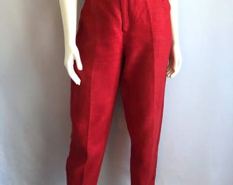 Vintage Women's 80's Red, Linen Pants, High Waisted, Tapered Leg (M)