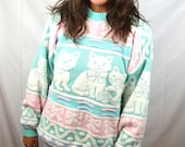 Vintage 80s Meow Pastel Kitty Cat Knit Winter Fun Sweater
