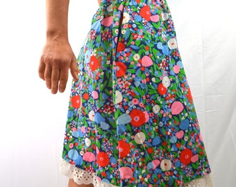 Vintage 70s LANZ Cotton Floral Skirt