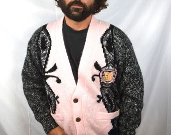 Vintage 1980s Saved By The Bell Cardigan Sweater - NOVO