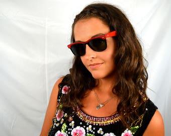Vintage 50s Super Rare Red Black Ray Ban Wayfarer Sunglasses