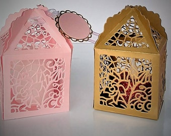 Floral lantern favor box - set of 10