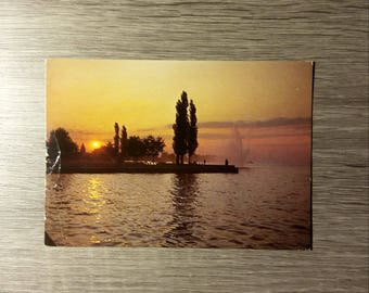 Vintage Postcard from Germany of Abendstimmung am Bodensee with 1994 postmark and German stamp